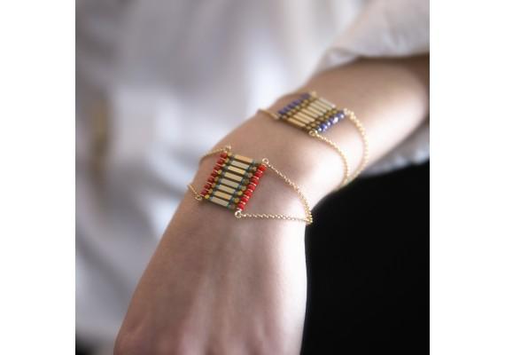 Bracelet manchette pierre semi précieuse