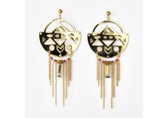 Boucles d'oreilles Abraxas Nahuati dorées à l'or fin - turquoise rouge