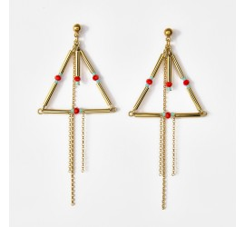 Boucles d'oreilles Tihuacan Anta dorées à l'or fin - rouge turquoise