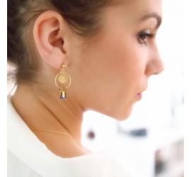Boucles d'oreilles créoles Tihuacan Itza dorées à l'or fin