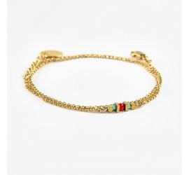 Bracelet 3 tours Collier Abraxas Nahuati doré à l'or fin - turquoise rouge