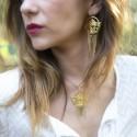 Boucles d'oreilles Abraxas Nahuati dorées à l'or fin