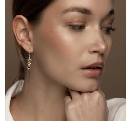Boucles d'oreilles pendantes Râ dorées or fin