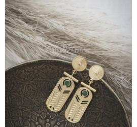 Boucle d'oreille créateur pierre semi précieuse TALISMAN