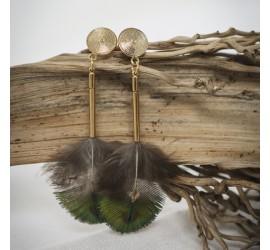Boucles d'oreilles plume paon TALISMAN