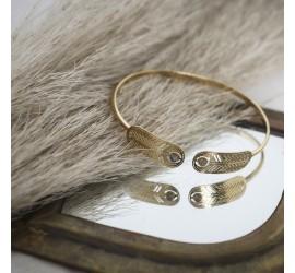 Bracelet jonc plaqué or pierre semi précieuse TALISMAN
