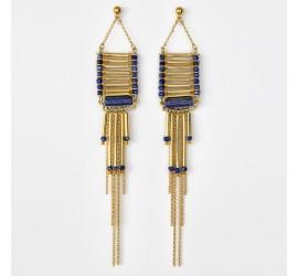 Boucles d'oreilles pendantes BO1 Tihuacan bleu-safran