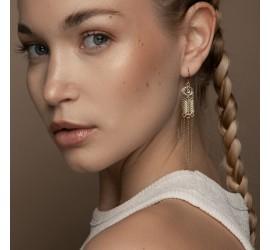 Boucles d'oreille pendantes plaquées or ALMA