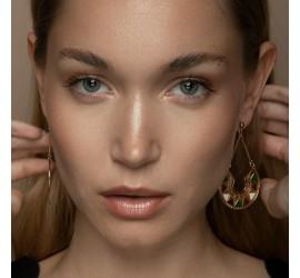 Boucles d'oreilles pendantes noir crème LINA