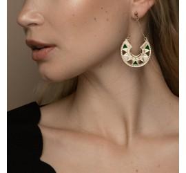 Boucles d'oreilles pendantes vertes & crème LINA