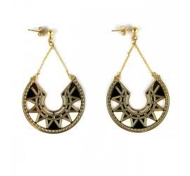 Boucles d'oreilles pendantes noires LINA