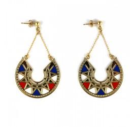 Boucles d'oreilles pendantes bleu & rouge LINA