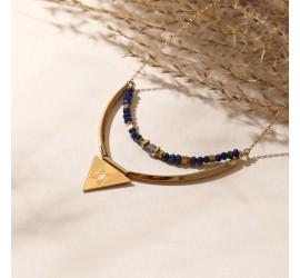 Collier double rang NOLAH crème/lapis lazuli