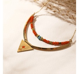 Collier double rang NOLAH rouge/turquoise