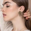 Boucles d'oreille pierres AVA Labradorite/noir