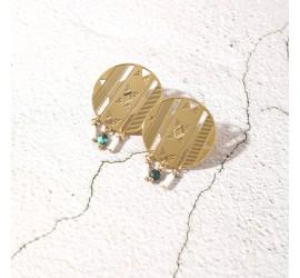 Boucles d'oreille pierres AVA turquoise/blanc