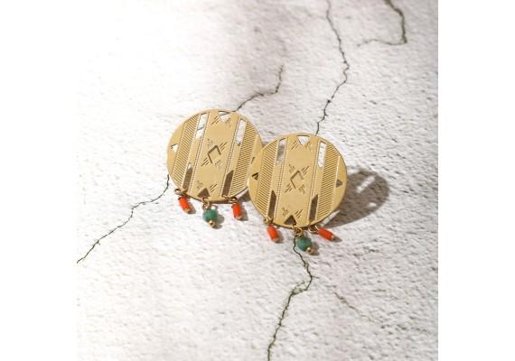 Boucles d'oreille pierres AVA emeraude/orange