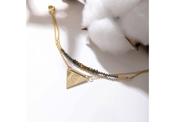 Bracelet double rang LINA obsidienne/pyrite