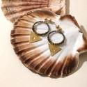 Boucles d'oreille créoles ANDREA obsidienne/pyrite