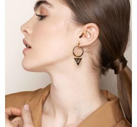 Boucles d'oreilles créoles pierre semi-précieuse ANDREA