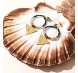 Boucles d'oreilles créoles pierre de soleil & malachite ANDREA