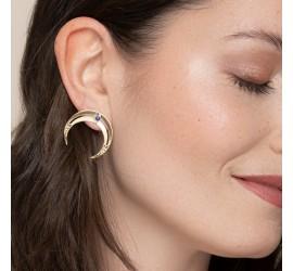 Boucles d'oreilles femme lune et pierre lapis lazuli NOMADE
