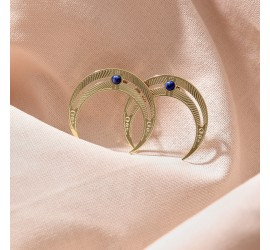 Boucles d'oreilles lune BO1 NOMADE lapis lazuli