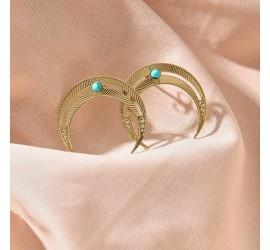 Boucles d'oreilles lune BO1 NOMADE turquoise