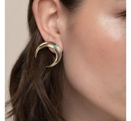 Boucles d'oreilles lune et pierre turquoise NOMADE