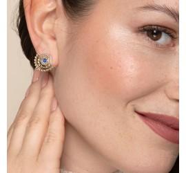 Bijou pierre lapis lazuli boucles d'oreilles NOMADE