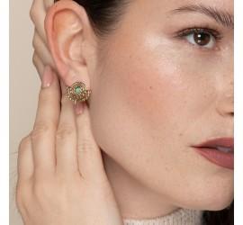 Bijou turquoise : boucles d'oreilles NOMADE pierre semi-précieuse