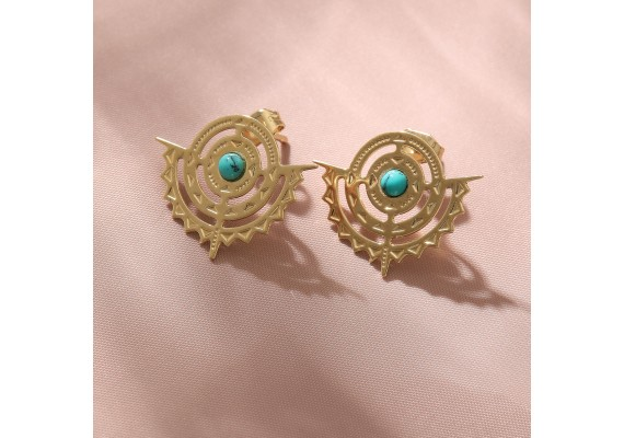 Boucles d'oreilles or BO2 NOMADE turquoise
