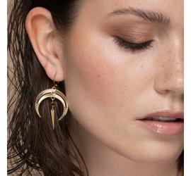 Boucles d'oreilles pendantes lune & pierre noire NOMADE