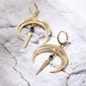 Boucles d'oreilles pendantes lune BO6 NOMADE noire