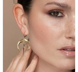 Boucles d'oreilles pendantes lune & pierre turquoise NOMADE
