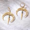 Boucles d'oreilles pendantes lune BO6 NOMADE turquoise