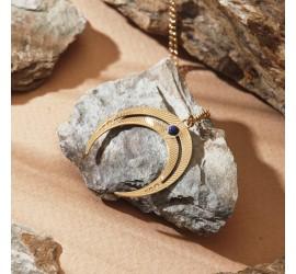 Collier bohème lune CO1 NOMADE lapis lazuli