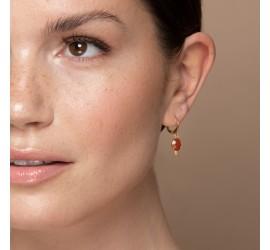 Boucle d'oreille fantaisie WANDA pierre cornaline