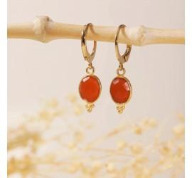 Boucles d'oreilles pierres WANDA cornaline