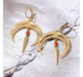 Boucles d'oreilles pendantes lune BO6 NOMADE rouge