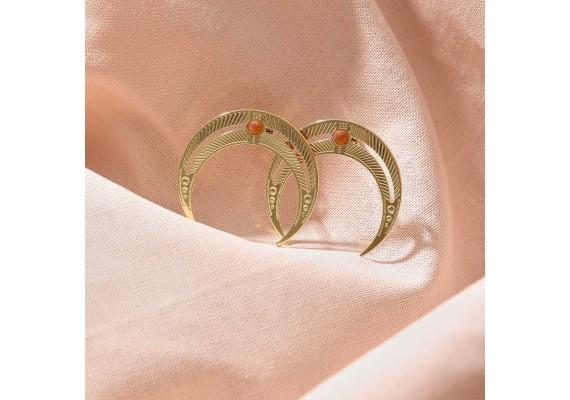 Boucles d'oreilles lune BO1 NOMADE cornaline