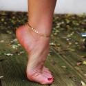 chaîne de cheville doré coquillage