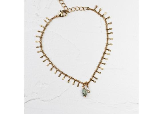 chaîne de cheville dorée pierre semi précieuses