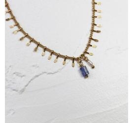 Chaîne de cheville pierres semi-précieuses bleu