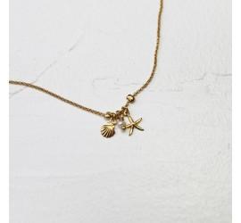 Chaîne de cheville coqillage, étoile de mer et perle de culture