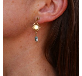 Boucles d'oreille asymétriques soleil agate mousse