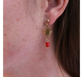 Boucles d'oreille asymétriques soleil bamboo de mer rouge