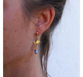 Boucles d'oreille asymétriques soleil agate bleue