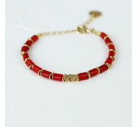 Bracelet pierre bohème bambou de mer