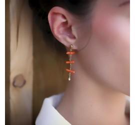 Boucles d'oreilles ethniques corail RÉCIF